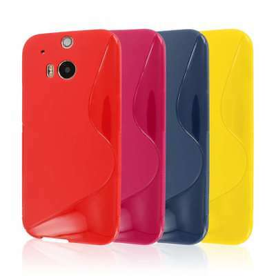 for HTC One M8 Red S-Shape Slim Flexible TPU Gel Soft Skin Case Cover Protector