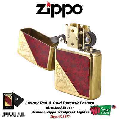 Zippo Luxury 3 Lighter, Red Gold Damask Engraved, Brushed Brass Windproof #28377