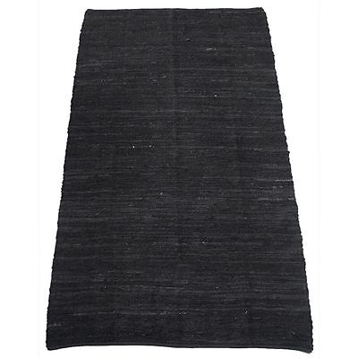 Black Leather Upcycled Kilim Hand Woven Indoor / Outdoor Kilim Rug
