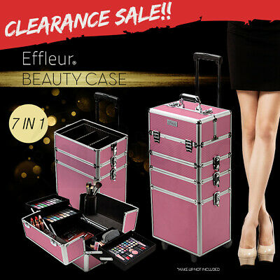 7in1 Cosmetics Case Beauty Makeup Portable Organiser Pink Diamond Holder Trolley