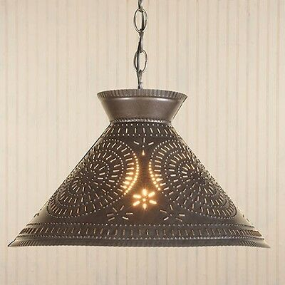 Country new handcrafted blacken punched tin ROOSEVELT shaded hanging light /nice