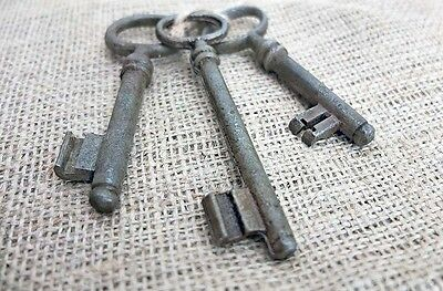 Imperial RUSSIA 3 Antique VINTAGE Iron Large Size KEYS XIX Century Set No.3