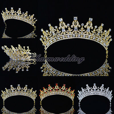 Royal Wedding Crown Crystal Rhinestone Prom Pageant Tiara Bridal Veil Headband