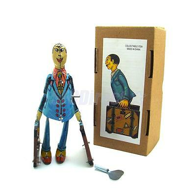 Retro Clockwork Wind Up Walking Spain Student Metal Tin Toy COLLECTIBLE