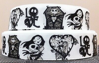Nightmare Before Christmas 'love' Black & White Grosgrain Ribbon - 1 Yard