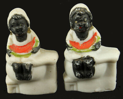 "Antique Bisque Americana Blackamoor Tiny Figurine Toy Watermelon 2"" Pr Japan"