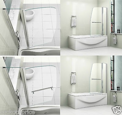 New Sail Style Pivot 6mm Glass Over Bath Shower Screen Double Door Panel & Seal