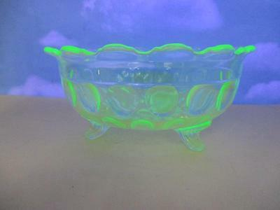 C4 Vaseline Glass Thumbprint Footed Scalloped Bowl