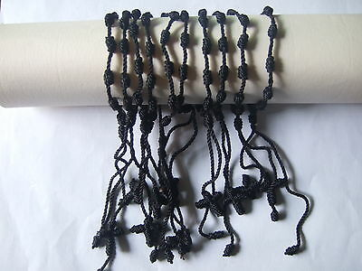 Wholesale lot 12-100pcs HandCraft Black Knotted Rosary Cross Bracelets