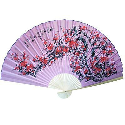 """Large 84"""" Folding Chinese Wall Fan Oriental Paper Hanging- Pink Cherry Blossom"""