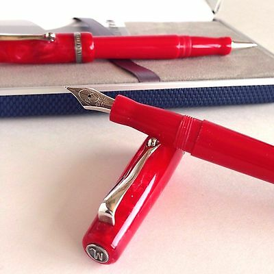 Marlen Pen Set Nature Fountain M NIB Red + Rollerball-Ballpoint Red / M920