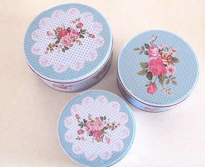 Set Of 3 Blue Pink Rose Tin Shabby Cabbage Rose Cake Biscuits Tins Canisters