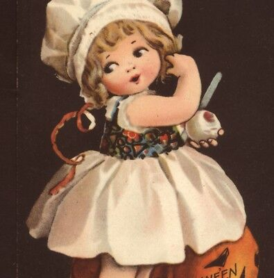 "Scarce...! Clapsaddle.. Girl Plays ""apple Peel"" Halloween Superstition Postcard"