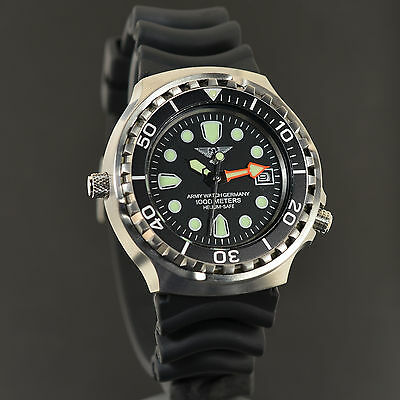 Army Watch 100 Atm Wasserdicht Diver Taucheruhr Heliumventil Top-Design Ovp 895