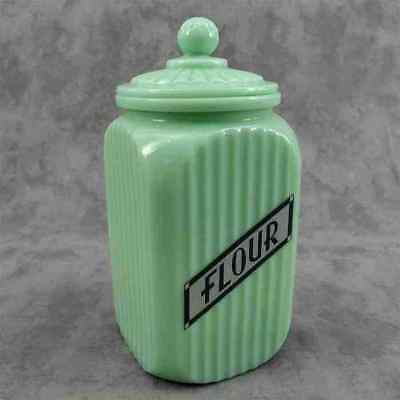Jadeite Green Glass Tall Sq. Flour Canister Jar Ribbed Arch Panel ~Label Design~