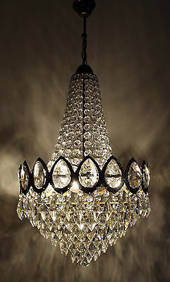 Antique -- Vintage French Basket Style Brass &  Crystals Chandelier Ceiling Lamp