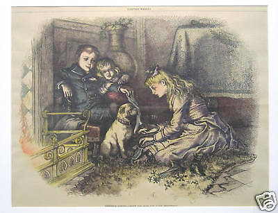 Thomas Nast children and pug dog waiting for Santa 1881 ORIGINAL antique print
