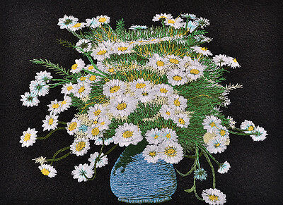 "Ready To Frame! 18"" Brocaded Silk Embroidery Piece : Daisies Zen Art Still Life"