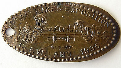 Rare 1936 Great Lakes Exposition Elongated Cent Fob Cleveland With Subway Nice