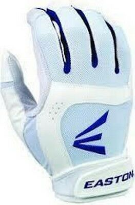 1 Pair Stealth Core Easton Fastpitch Women's X-Large White /Royal Batting Gloves