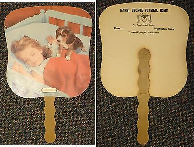 c1940s Washington Kansas George Funeral Home ad fan - little girl and puppy dog