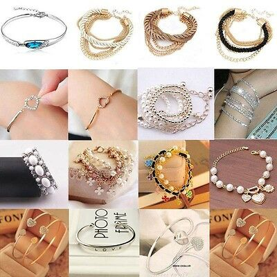 Fashion Women Lots Style Gold Rhinestone Bangle Charm Cuff Bracelet Jewelry