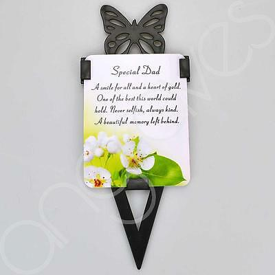 Special Dad Memorial Remembrance Verse With Grave Butterfly Ground Stake