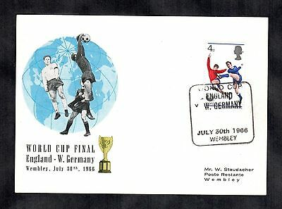 1966 Football World Cup England v Germany Postal Cover Soccer Wembley Lot 1