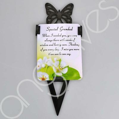 Special Grandad Memorial Remembrance Verse With Grave Butterfly Ground Stake