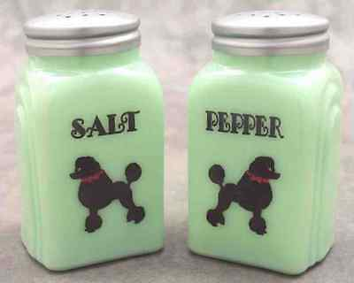 Jadeite Green Glass Black Poodle Salt & Pepper Shaker Set