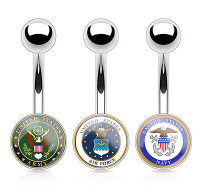 B#116 - US Military Logo Belly Navel Naval Rings Army, Navy, Air Force