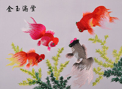 "20"" Chinese Brocaded Silk Embroidery Piece Goldfishes"