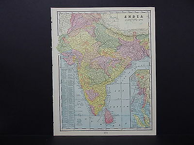 Map of India George F. Cram 1899 Double-Sided s5#10