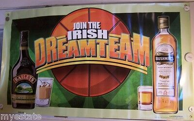 Lot of 2 New Baileys & Bushmill's Join The Irish Dream Team Banner Sign