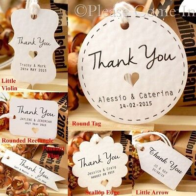 Personalised White Wedding Favour Tags/ Thank You Tag/ Gift Tag with Twine