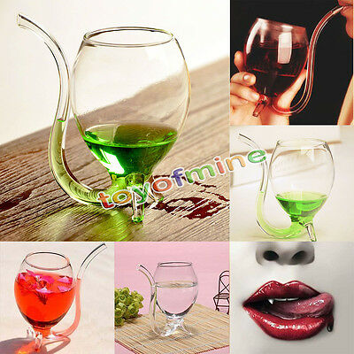 300ml/200ml/100ml Vampire Devil Wine Glass Cup With Built in Drinking Tube Straw