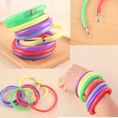 1x/2x Novelty Fun Writing Ball Point Pen Rubber Bracelet Pen Student Stationery