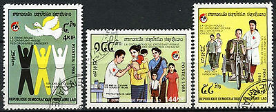Laos 1988 SG#1090-2 Red Cross Movement Cto Used Set #D6382