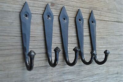 Set Of 5 4.5 Inch Black Iron Ancient English Design Coat Hooks Hanger Hook Ob4
