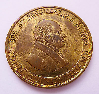 JOHN QUINCY ADAMS - 6TH US PRESIDENT 1825-29  ~ THE DIARIST ~ MEDAL ~ 1-inch dia