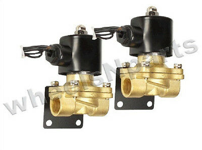 "air ride suspension valves two brass 1/2""npt electric solenoid & mount brackets"