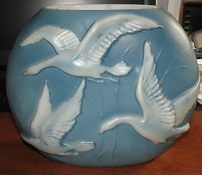 "Art Glass Vase Phoenix Glass Co W/ White Geese & Blue Background 9 1/2""x11"