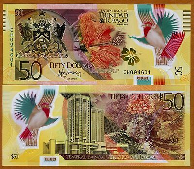 Trinidad and Tobago, 50 dollars, 2015, Pick New, POLYMER, UNC   Redesigned