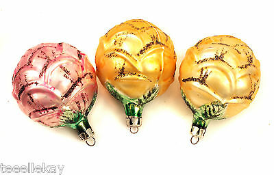 3 Vtg Glass ROSE Xmas Ornaments PINK, GOLD, YELLOW Tarnished SILVER MICA POLAND