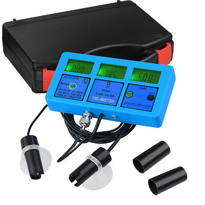 TDS Meter Digital 6in1 LCD Tester Water Purity PPM Filter PH CF Tem Hydroponic