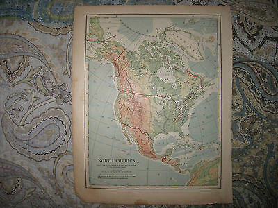 Antique 1901 North America Map Physical Geology Canada United States Mountain Nr