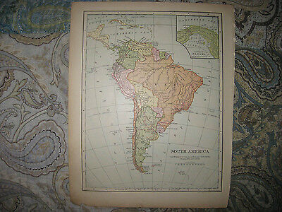 Antique 1901 South America Map Panama Canal Brazil Argentina No Patagonia Superb