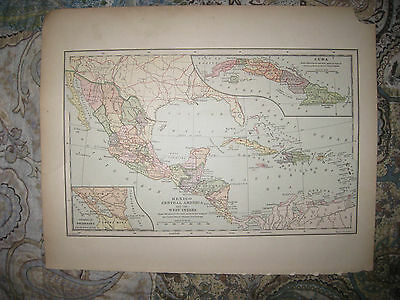 Antique 1901 Mexico Central America West Indies Cuba Puerto Rico Map Superb Nr