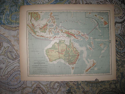 Antique 1901 Australia Political Physical Map Hawaii Pacific Islands Map Oceania