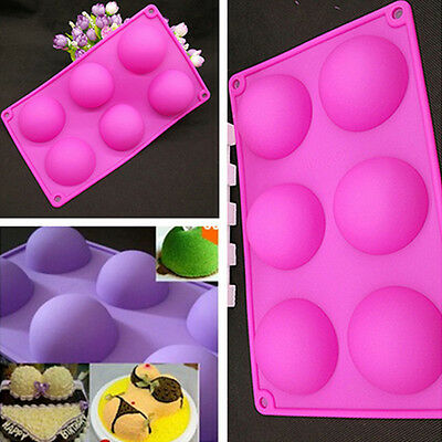 6 cell Semi Sphere Dome Chocolate Half Round SILICONE BAKING CAKE MOULD Pan